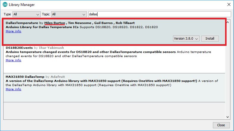 Install DallasTemperature library by Miles Burton in Arduino IDE