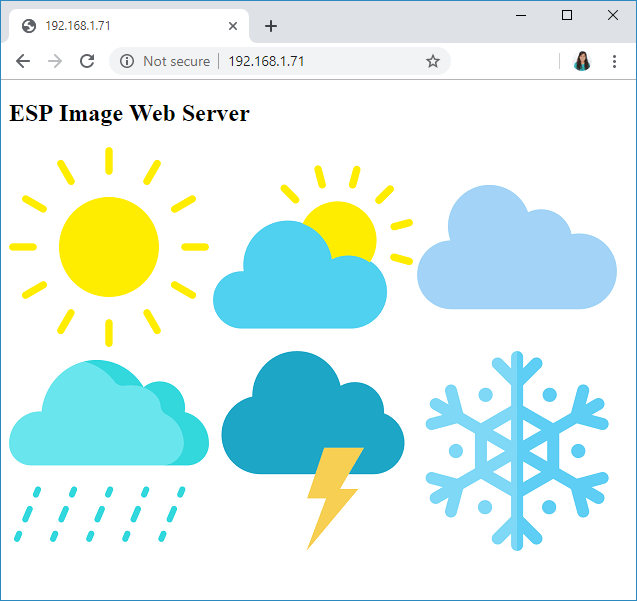 ESP32 ESP8266 display image in web server demonstration