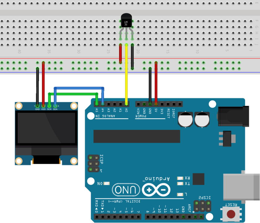 Arduino LM35/LM35DZ OLED Display Schematic Diagram