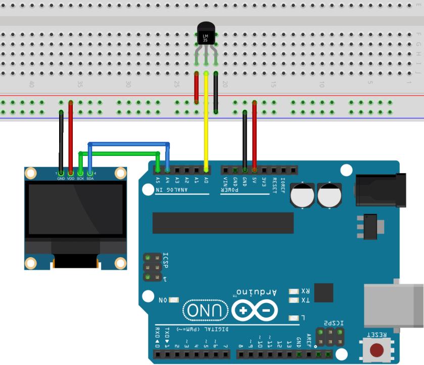 Arduino LM35/LM35DZ OLED Display Schematic Diagram