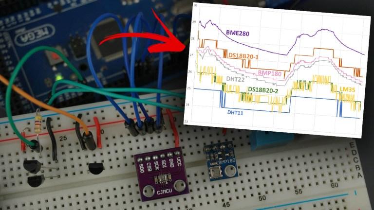 DHT11 vs DHT22 vs LM35 vs DS18B20 vs BME280 vs BMP180 Temperature Sensors