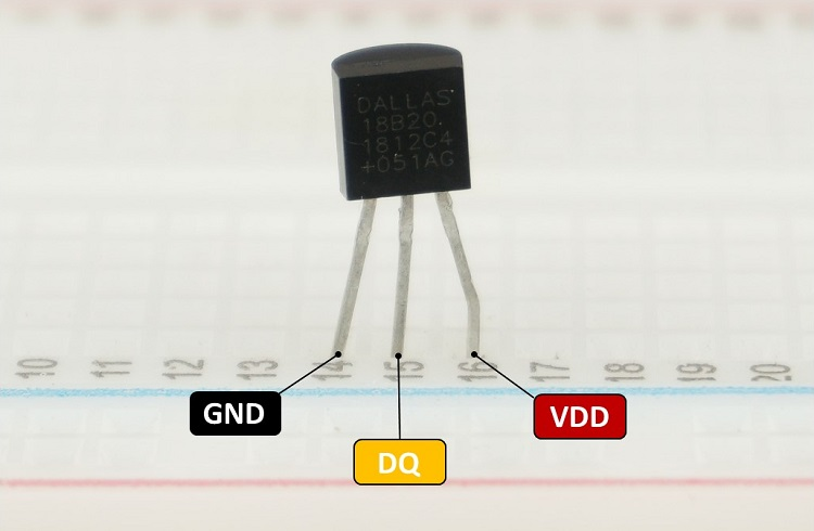 DS18B20 Temperature Sensor Pinout Pins Diagram