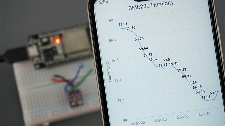 ESP32 ESP8266 Chart Web Server BME280 Humidity Arduino IDE