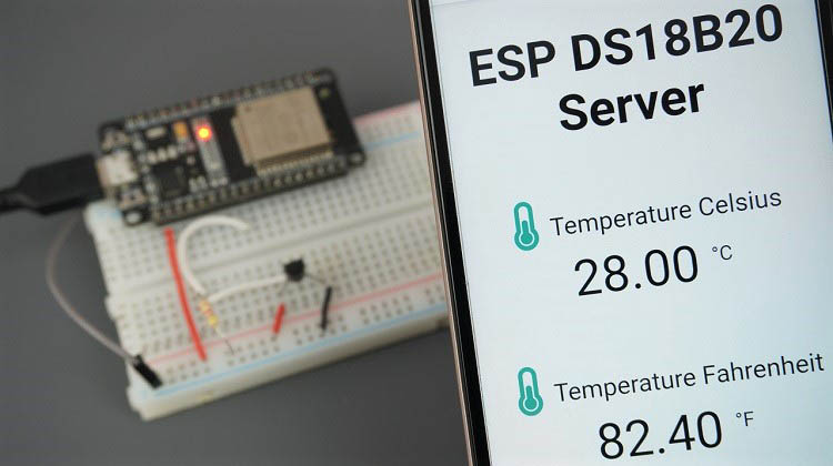 Display DS18B20 Temperature Readings on Web Server MicroPython