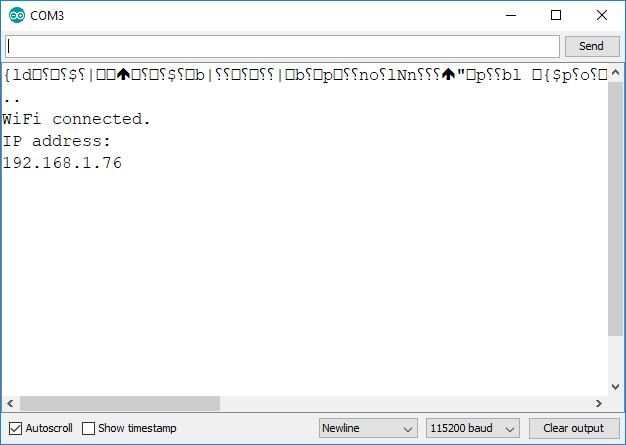 ESP8266 IP address Serial Monitor