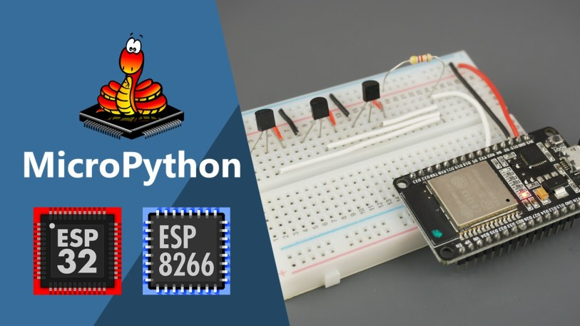 MicroPython DS18B20 Temperature Sensor with ESP32 and ESP8266 (Single sensor, Multiple sensors and Web Server example)