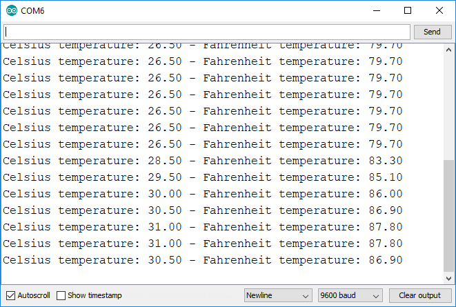 DS18B20 Temperature readings in Arduino IDE Serial Monitor