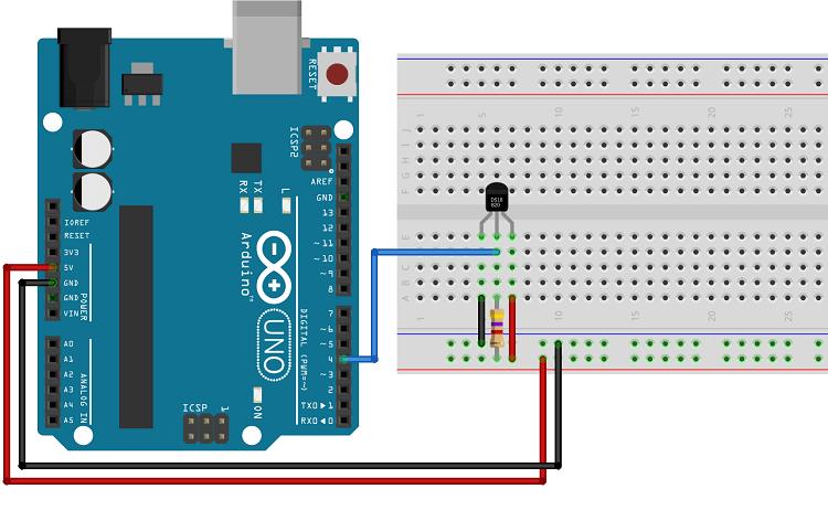DS18B20 temperature sensor schematic wiring diagram normal mode