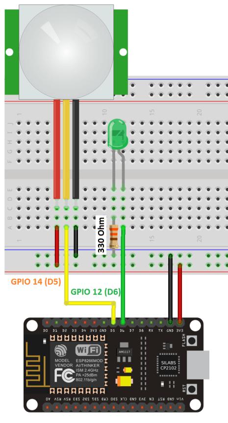 ESP8266 NodeMCU Interrupts and Timers with PIR Motion Sensor Schematic Circuit Diagram