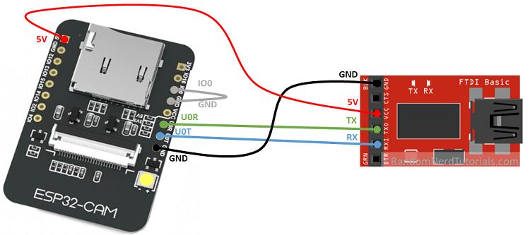 ESP32-CAM FTDI Programmer Wiring Circuit Diagram 5V