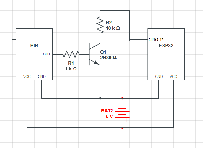 ESP32-CAM with PIR Motion Sensor Circuit Diagram