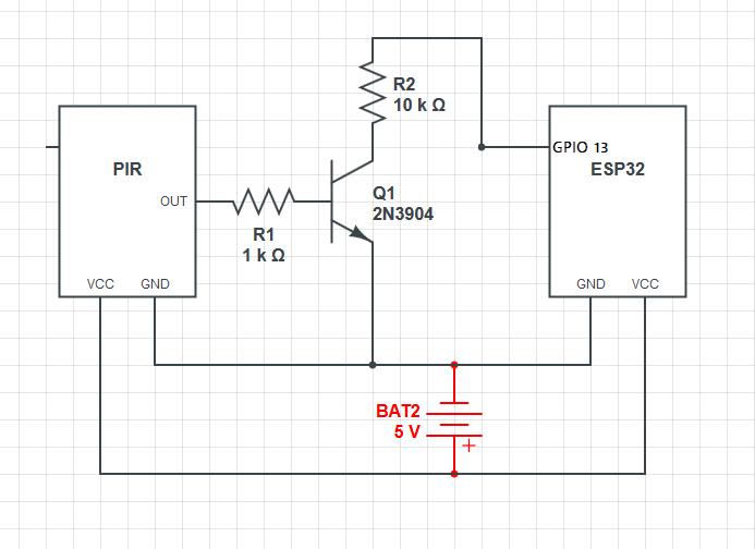 ESP32-CAM with PIR Motion Sensor Circuit Diagram