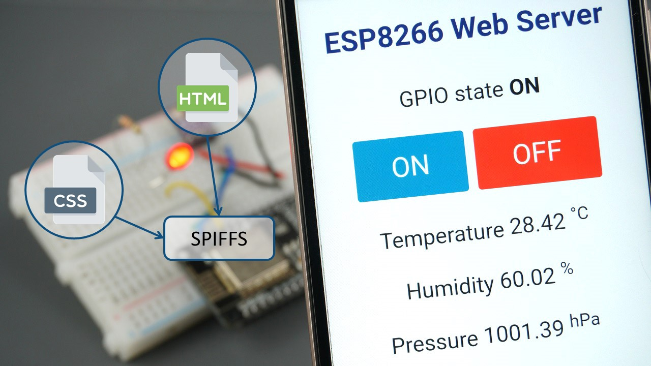 ESP8266 Web Server using SPIFFS (SPI Flash File System) HTML CSS files