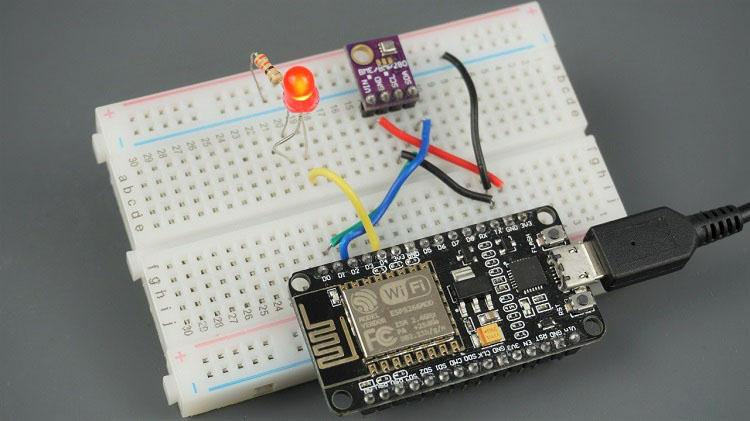 ESP8266 NodeMCU BME280 Temperature Humidity Pressure Sensor LED Circuit