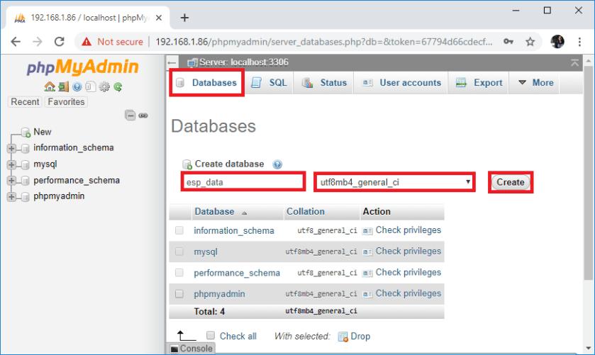 Raspberry Pi phpMyAdmin create new database