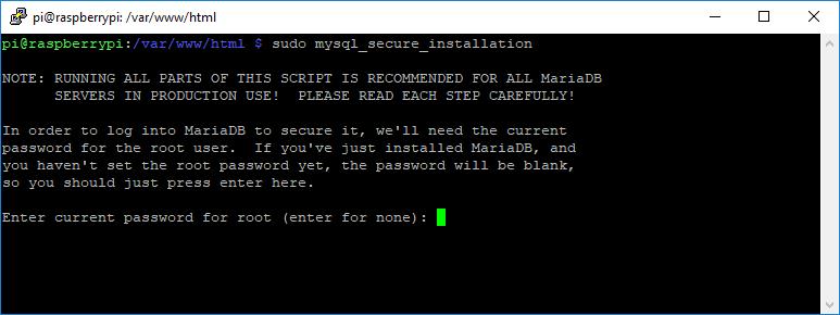 Raspberry Pi MySQL Database MariaDB Secure Installation