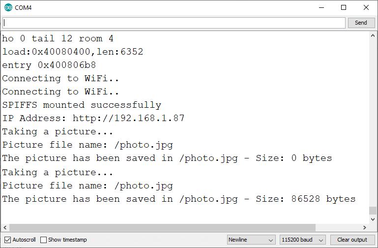 ESP32-CAM Web Server Display Last Photo Captured Arduino IDE Serial Monitor