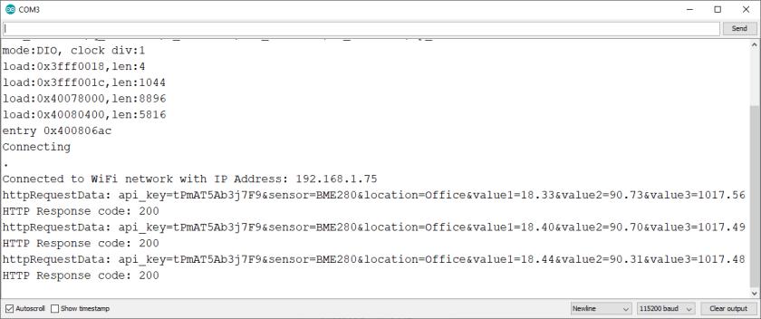 Arduino IDE Serial Monitor ESP32 ESP8266 Weather Station
