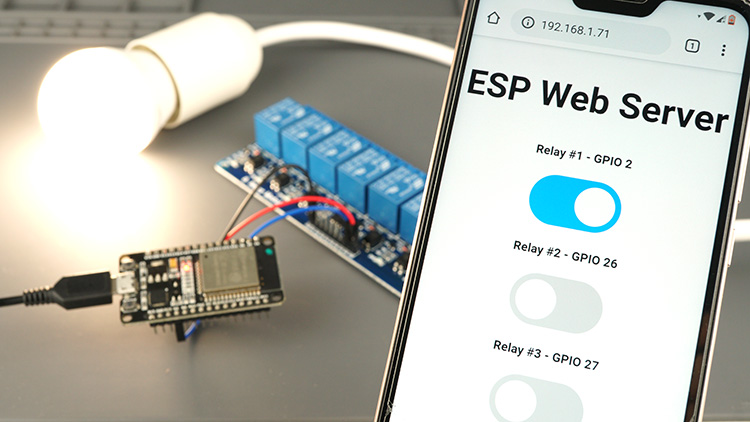 ESP32 Web Server controlling AC lamp with relay module