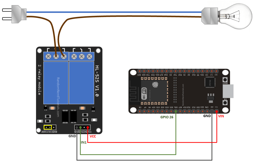 Wiring a Relay Module to the ESP32 Schematic Circuit