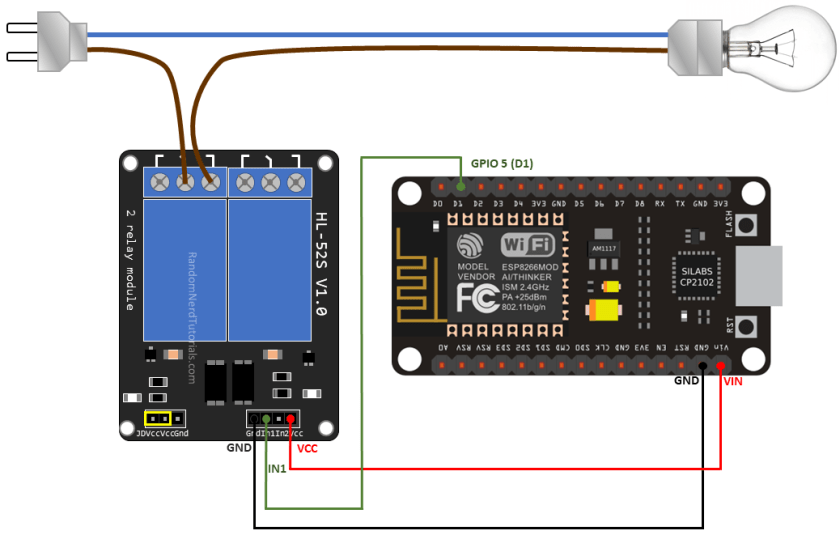Wiring a Relay Module to the ESP8266 Schematic Circuit