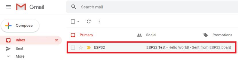 ESP32 SMTP Server Receive Email Test