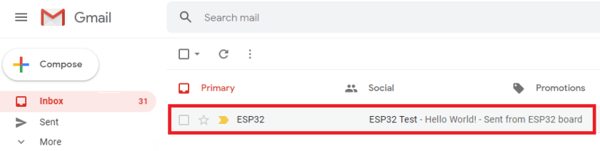 ESP32 SMTP Server Receive Email Test