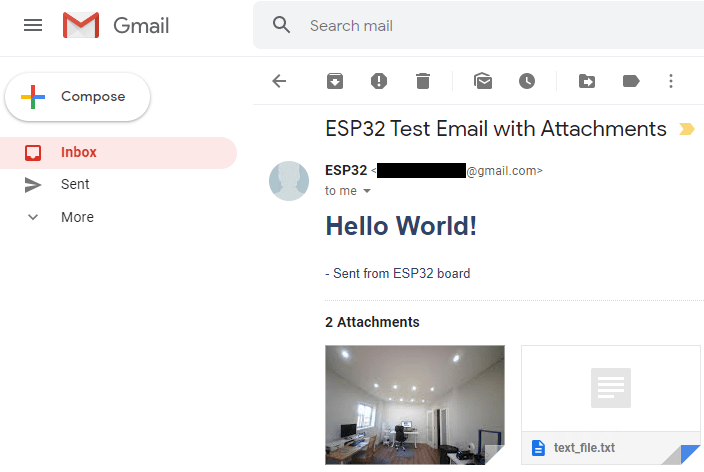 ESP32 Send an Email with Attachment Programmed using Arduino IDE