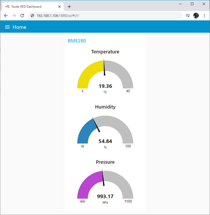 ESP8266 NodeMCU MQTT Publish Temperature Humidity Pressure Node-RED Dashboard
