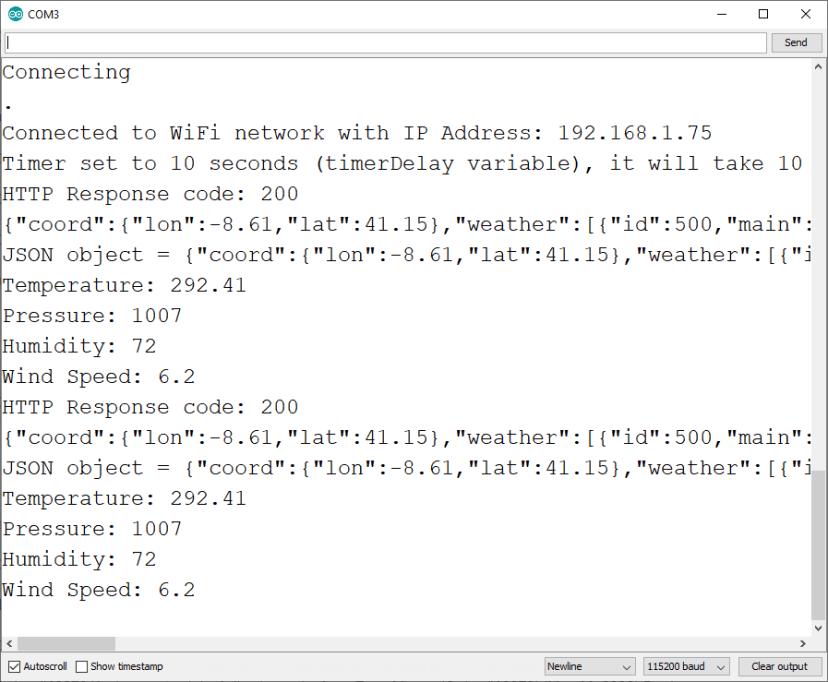 ESP32 ESP8266 NodeMCU HTTP GET with Arduino IDE OpenWeatherMap Response
