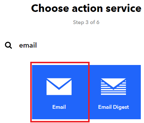 select email service ifttt