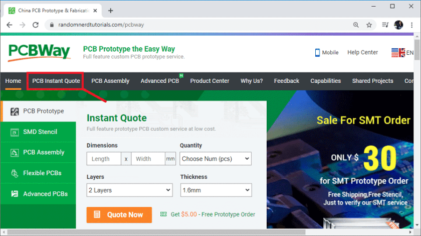 PCBWay Order PCB open instant quote page