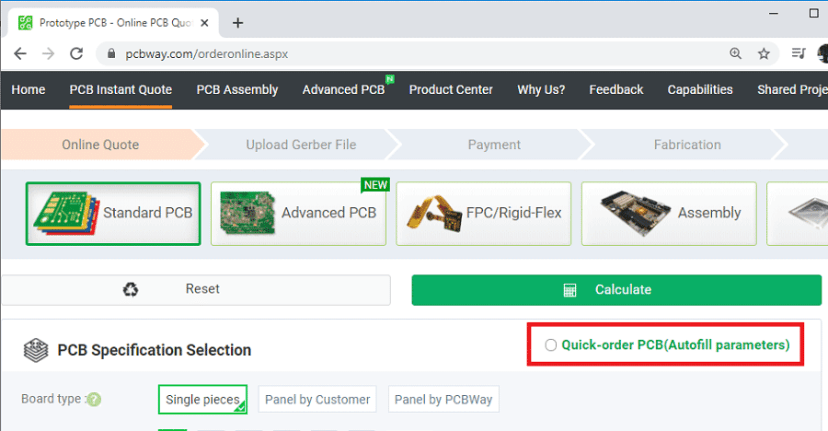 PCBWay Order PCB autofill parameters