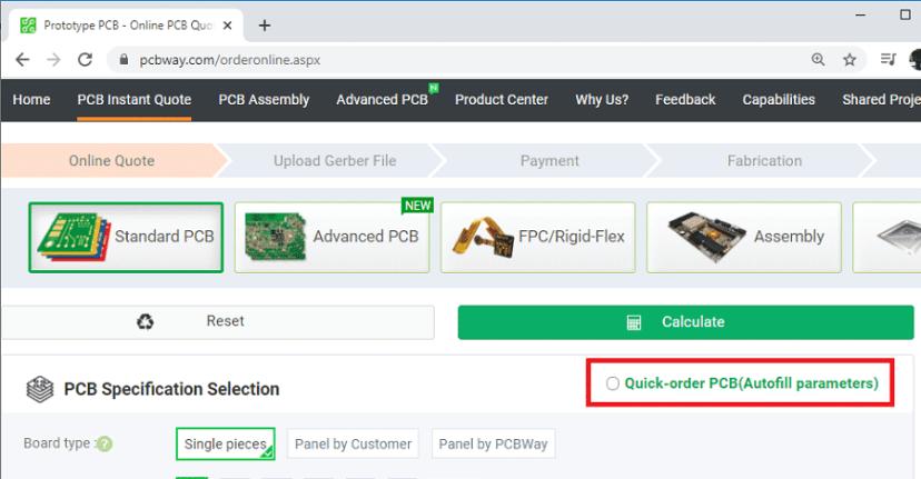 PCBWay Order PCB autofill parameters