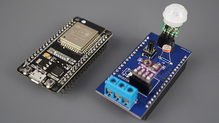 ESP32 IoT Sensor Shield PCB and ESP32 board