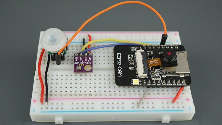 ESP32-CAM Project Telegram Test Circuit Diagram Breadboard Wiring