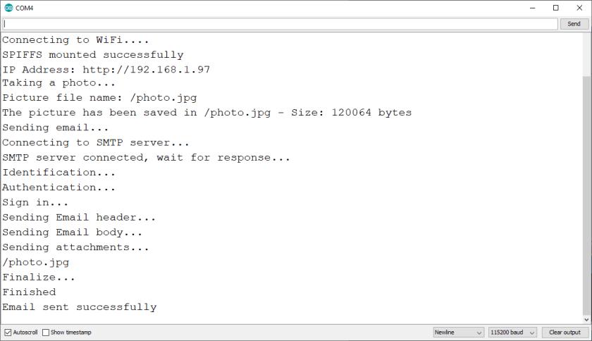 ESP32 CAM send photo via email serial monitor demonstration