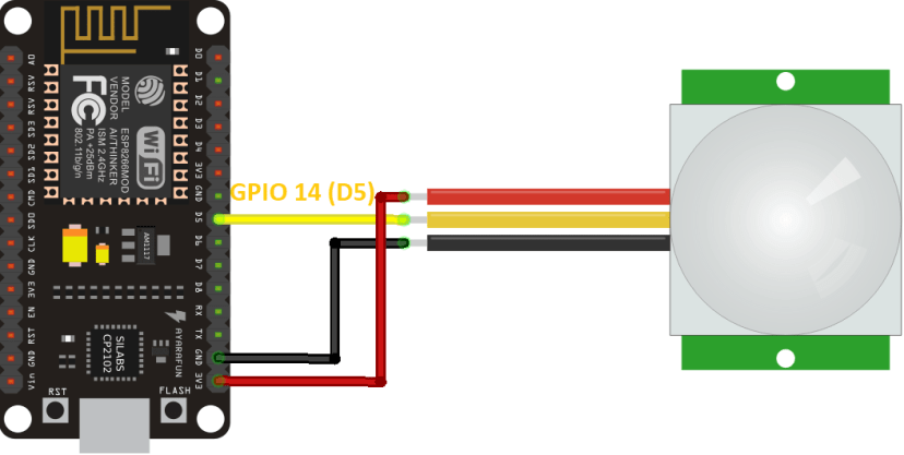 ESP8266 NodeMCU PIR Motion Sensor Wiring Diagram