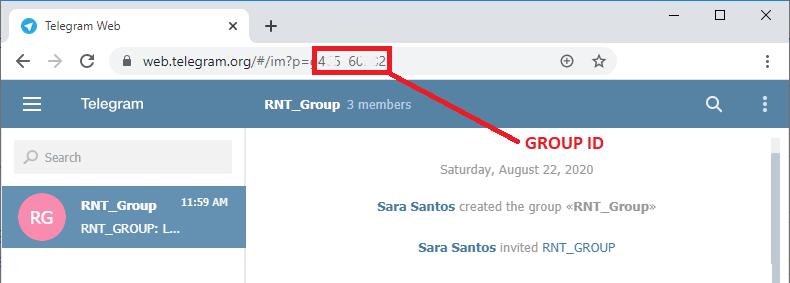 Get the Telegram group ID