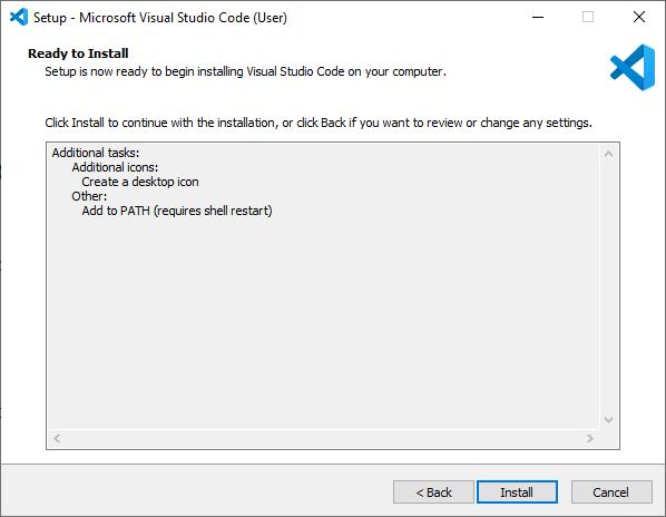 Microsoft Visual Studio Code VS Code Installation wizard step 3