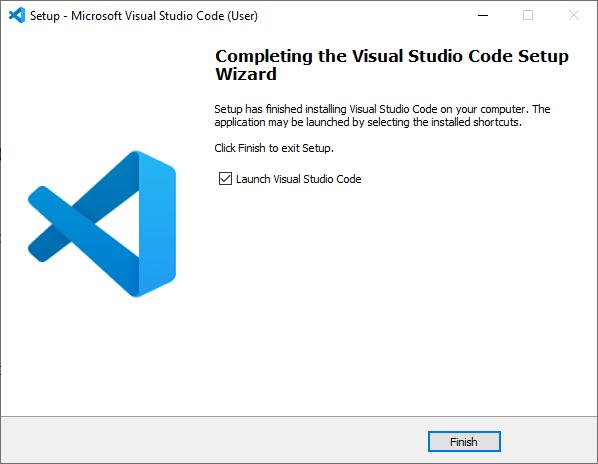 Microsoft Visual Studio Code VS Code Installation wizard final step