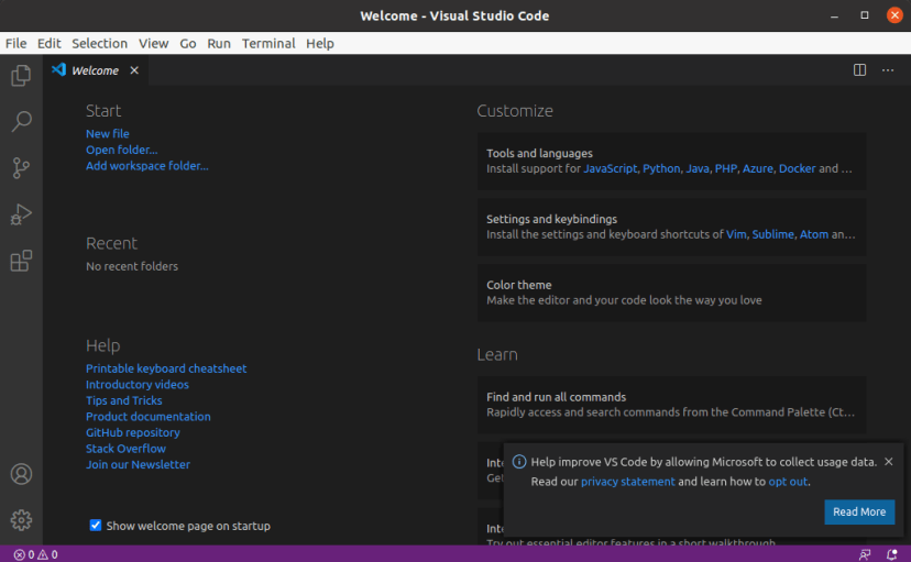 Microsoft Visual Studio Code VS Code Installation wizard welcome screen on Linux Ubuntu