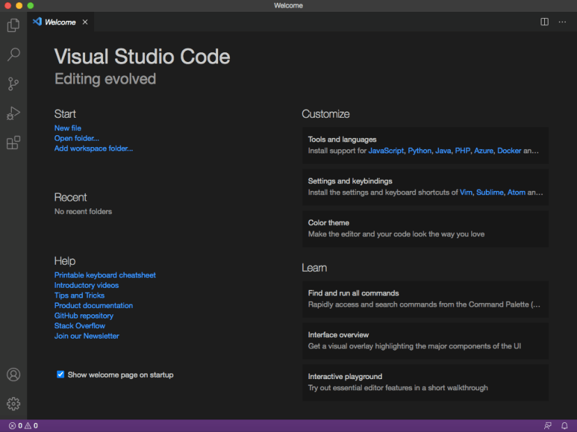 Microsoft Visual Studio Code VS Code Installation wizard welcome screen on Max OS X
