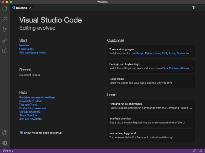 Microsoft Visual Studio Code VS Code Installation wizard welcome screen on Max OS X