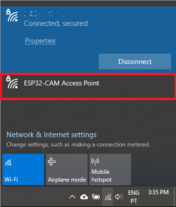 Connect to ESP32-CAM Access Point Computer