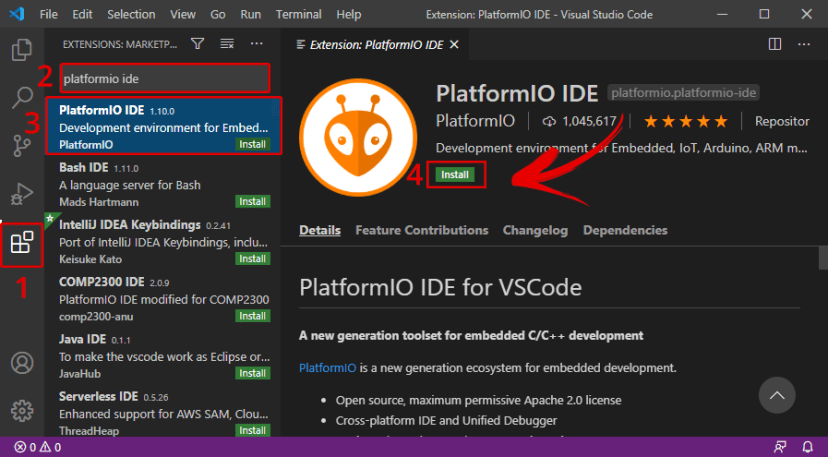 Install PlatformIO IDE Extension on VS Code