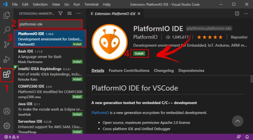 Install PlatformIO IDE Extension on VS Code