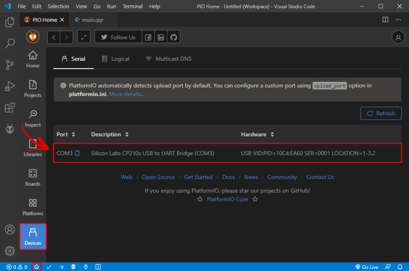 PlatformIO IDE extension VS Code Visual Studio Connected Devices COM Port Serial