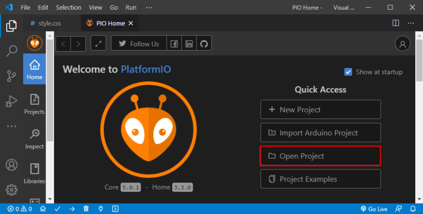 VS Code with PlatformIO Open Project Folder
