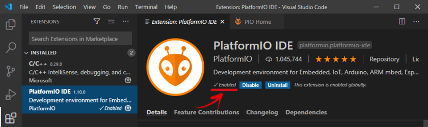 PlatformIO IDE Extension Enabled on VS Code